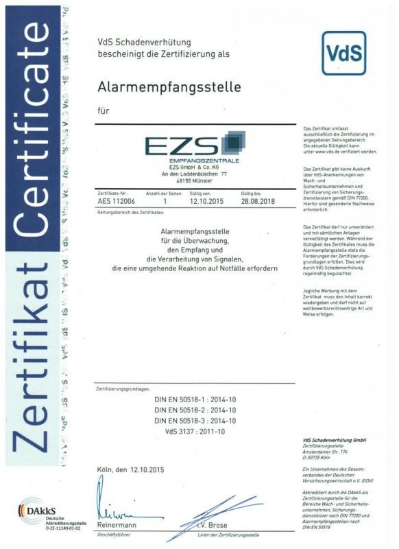 Alarm-Empfangsstelle (AES) gem. DIN EN 50518-Serie