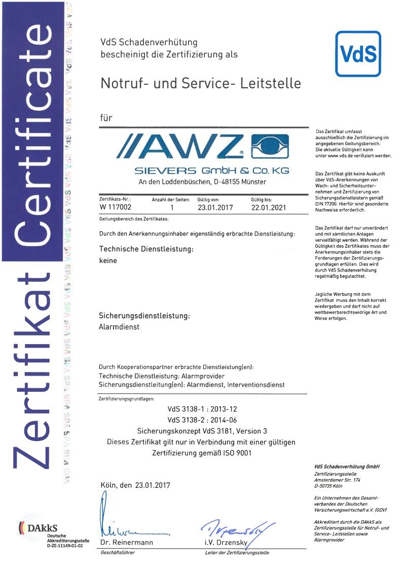 VdS-anerkannt Notruf- und Service-Leitstelle (NSL) gem. VdS 3138