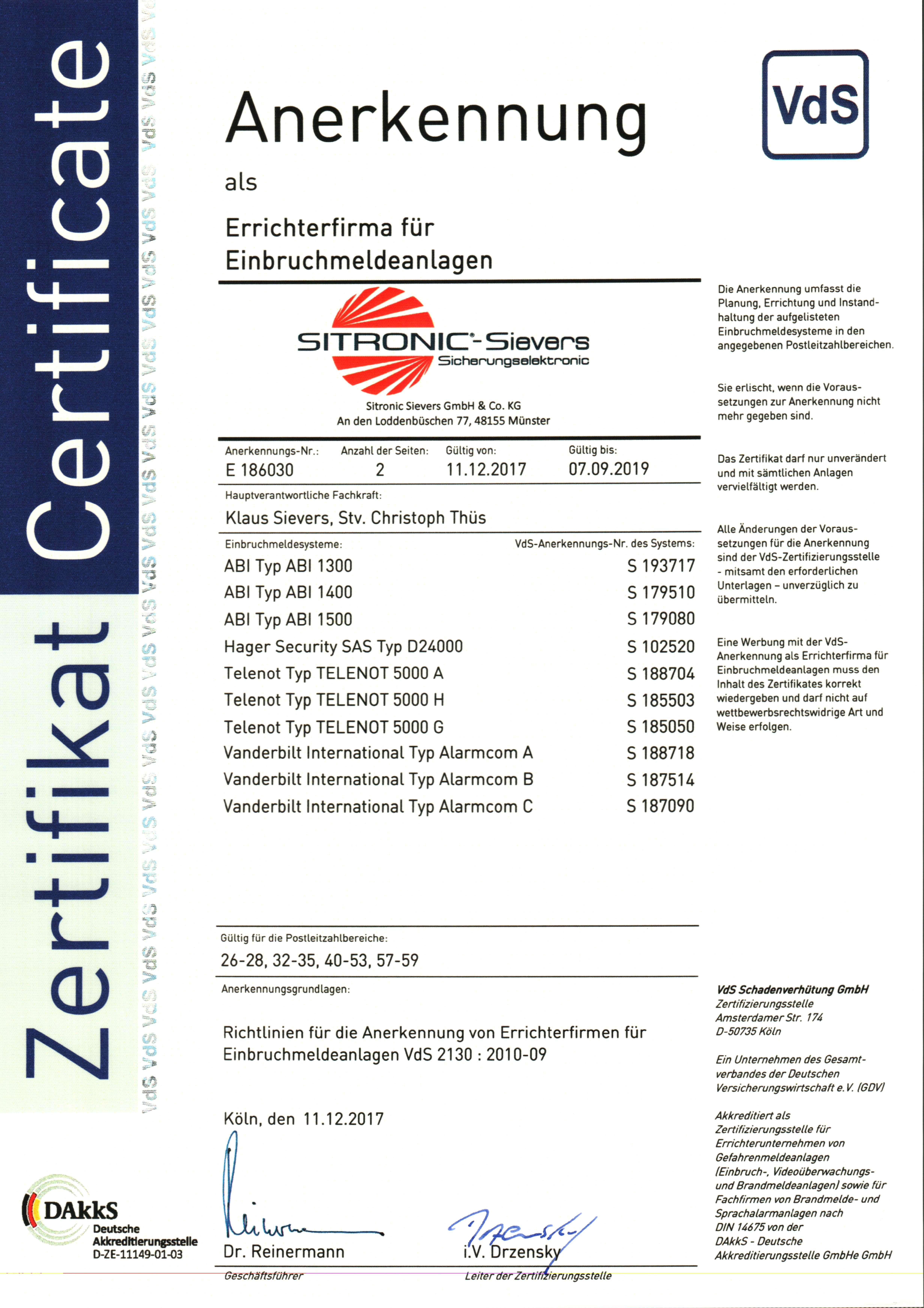 VdS-anerkannter Facherrichter für Einbruchmeldeanlagen (EMA)