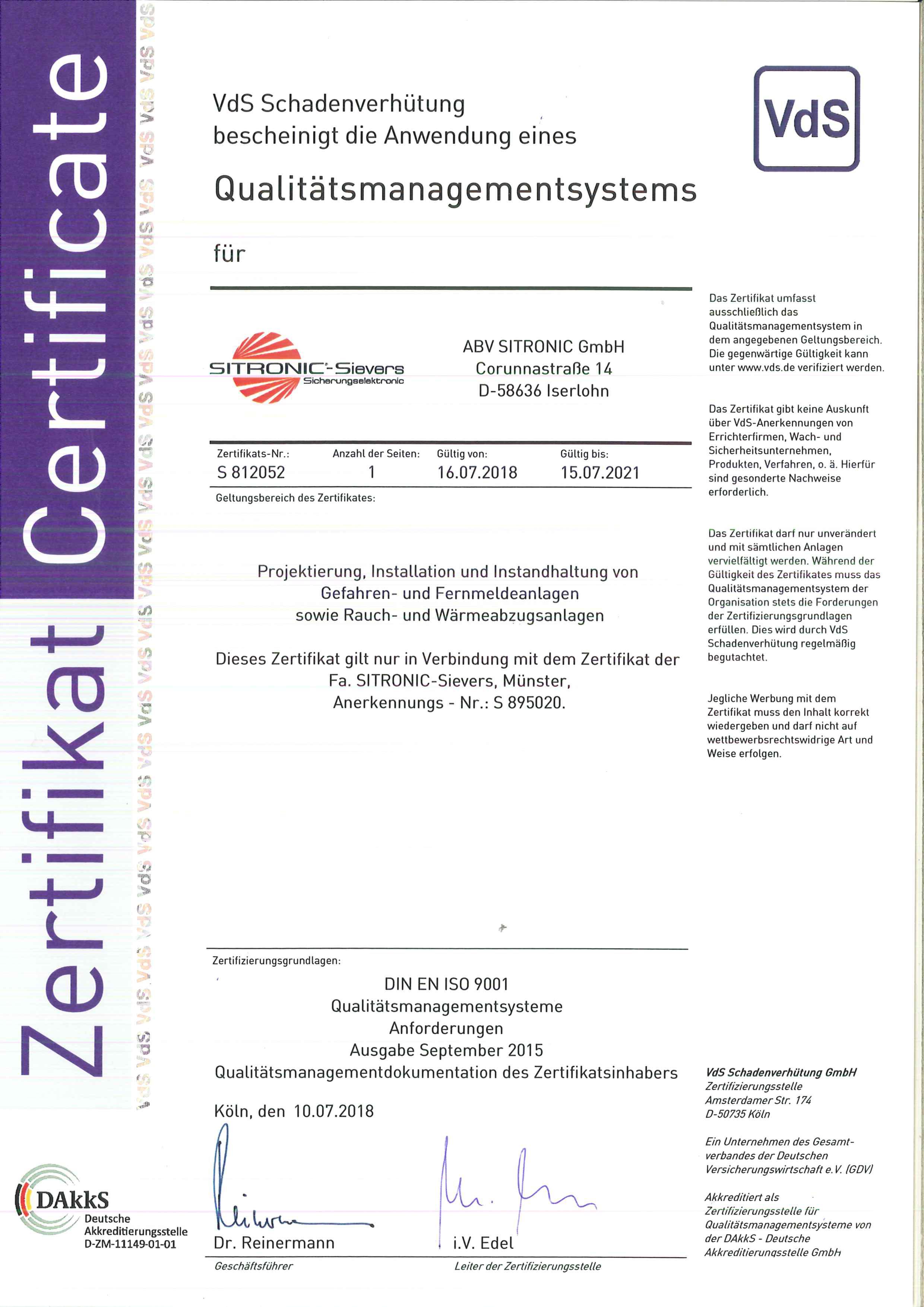 Qualitätsmanagement-System gem. ISO 9001:2008