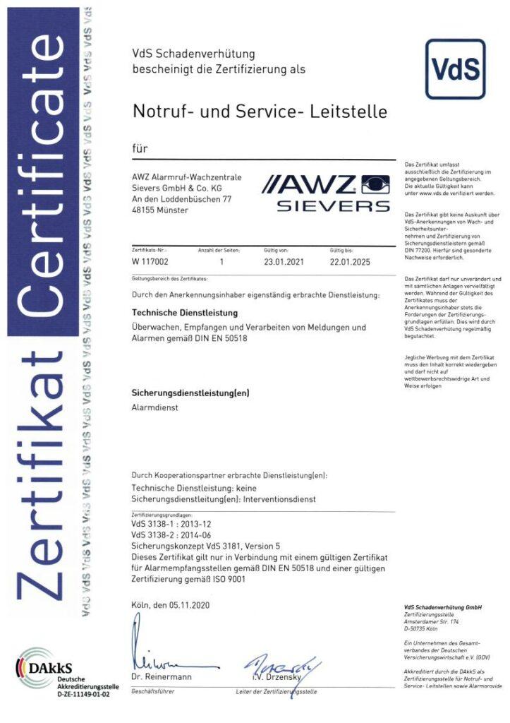 AWZ-Zertifikat VdS 3138 als NSL